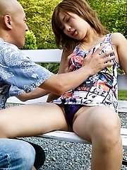 Aika Asian with round hooters gets roughly fucked on park bench